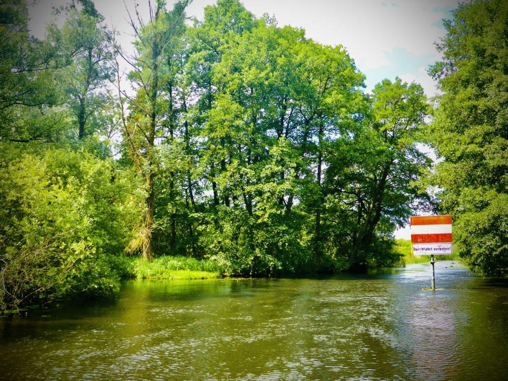 """Auf dem Bild befindet sich inmitten schöner Natur ein Schild im Wasser und am Rande eines Kanals. Auf dem Schild steht """"Durchfahrt verboten""""."""