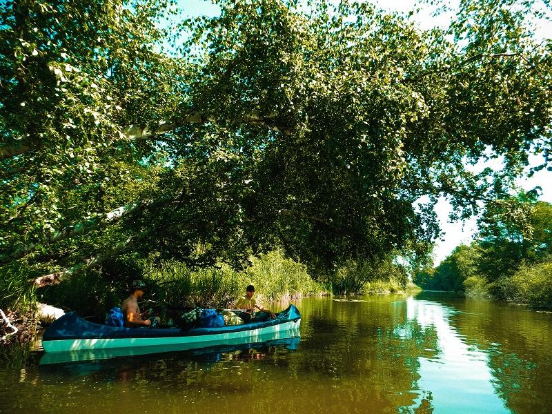 Auf dem Bild befinden sich zwei Personen in einem Kanu die unter einem Baum im Schatten pause machen.